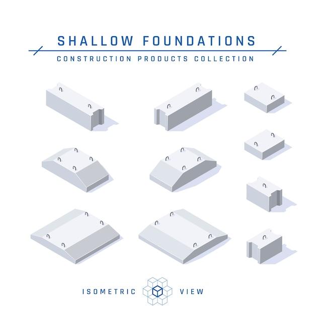 Set di fondamenta in calcestruzzo, vista isometrica in stile piatto. Vettore Premium