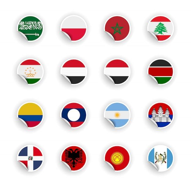 Set di bandiera del paese in adesivi Vettore Premium