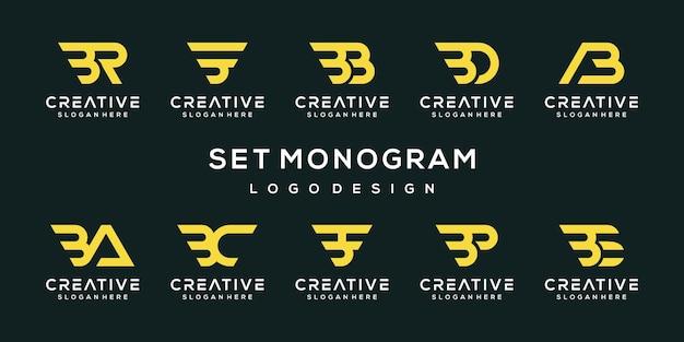 Set di modello di progettazione di logo di lettera b monogramma astratto creativo Vettore Premium