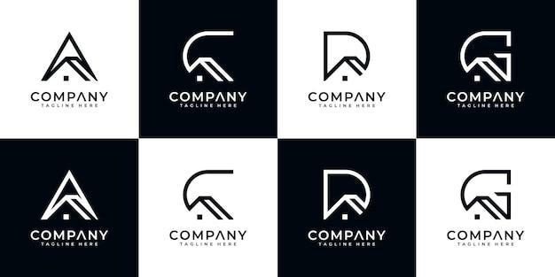 Set di creativo astratto monogramma lettera logo design con modello di stile casa Vettore Premium