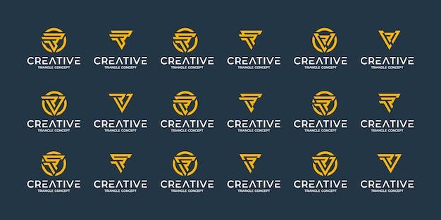 Set di modello di progettazione di logo monogramma astratto creativo. logotipi per attività di lusso, eleganti, semplici. concetto di triangolo Vettore Premium