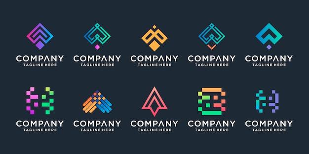 Set di freccia creativa e lettera a modello. icone per affari di lusso, eleganti, semplici. Vettore Premium