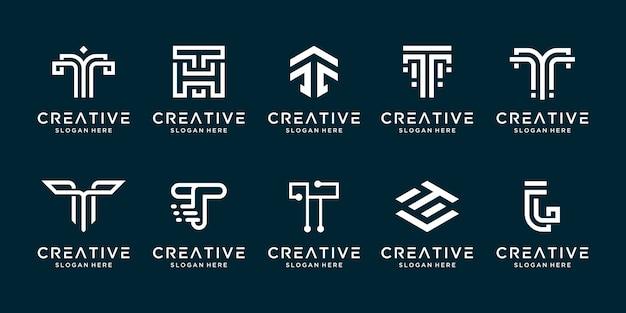 Impostare il modello di progettazione del logo t lettera di raccolta creativa. Vettore Premium