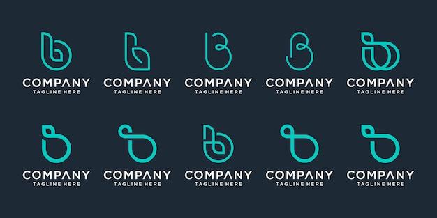 Set di modello di progettazione del logo lettera iniziale creativa b. Vettore Premium