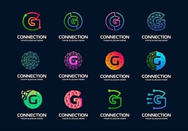 Set di lettera iniziale creativa g modern digital technology logo design. Vettore Premium