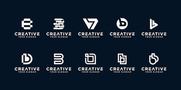 Set di loghi creativi lettera b. Vettore Premium