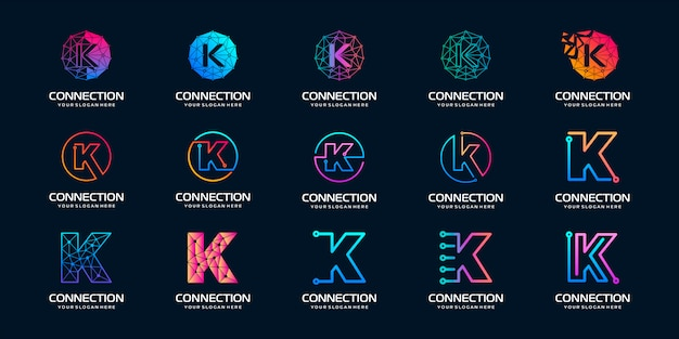 Set di lettera creativa k logo moderno tecnologia digitale. il logo può essere utilizzato per tecnologia, digitale, connessione, società elettrica. Vettore Premium