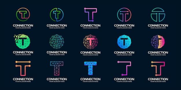 Set di lettera creativa t moderna tecnologia digitale logo Vettore Premium