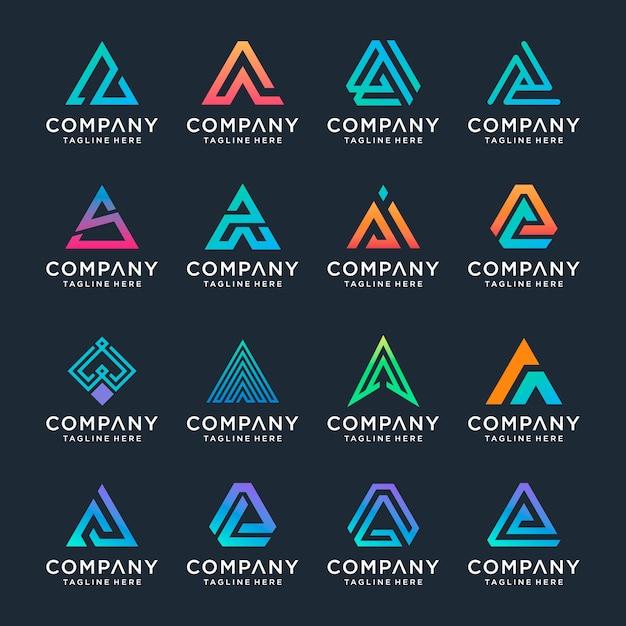 Set di modello creativo lettera a. icone per affari di lusso, eleganti, semplici. Vettore Premium