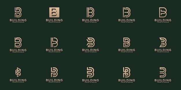 Set di creative lettermark monogramma lettera b logo modello. Vettore Premium