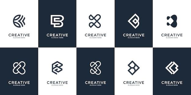 Set di modello di logo lettera b. monogramma creativo lettermark. Vettore Premium