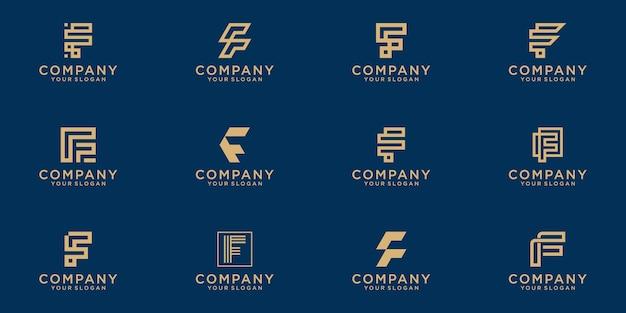 Set di modello di logo lettera f monogramma creativo lettermark. Vettore Premium