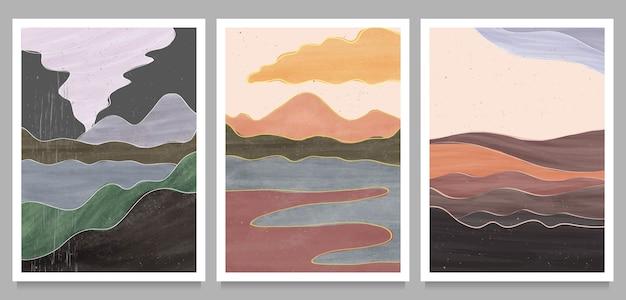 Set di illustrazioni dipinte a mano minimaliste creative della metà del secolo moderno. Vettore Premium