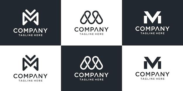 Set di modello di logo mv lettera monogramma creativo. il logo può essere utilizzato per attività commerciali e società di costruzioni. Vettore Premium