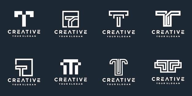 Set di loghi creativi della lettera t del monogramma Vettore Premium