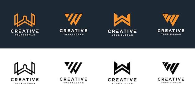 Set di loghi creativi monogramma lettera w Vettore Premium