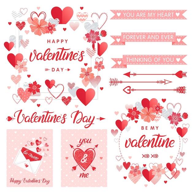 Set di carte ed elementi creativi di san valentino. Vettore Premium