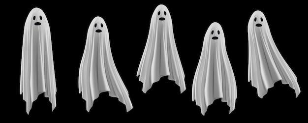 Set di raccapricciante fantasmi illustrazione Vettore Premium