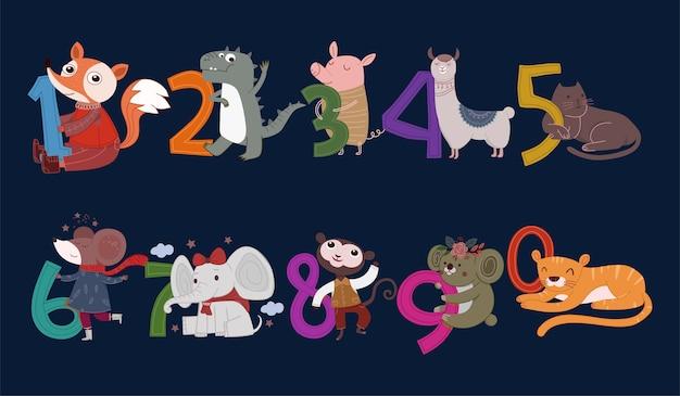 Set di illustrazione di numeri animali carino Vettore Premium