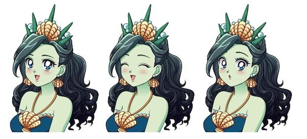 Una serie di simpatiche principesse del mare anime con espressioni diverse. Vettore Premium