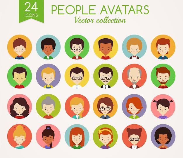 Set di simpatici avatar. volti maschili e femminili. diversi tipi di persone con diverse nazionalità, età, abbigliamento e acconciature. raccolta di icone vettoriali isolato su sfondo bianco. Vettore Premium