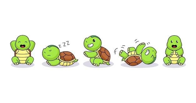 Set di tartaruga bambino carino divertente e felice Vettore Premium