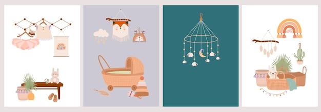 Set di simpatici baby card boho in stile scandinavo. Vettore Premium