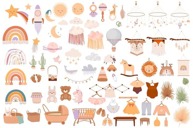 Set di simpatici oggetti boho baby in stile scandinavo. Vettore Premium
