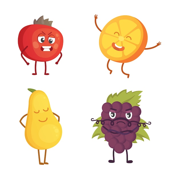 Set di frutta simpatico cartone animato. illustrazione con personaggi divertenti. tempo di cibo fresco divertente. Vettore Premium
