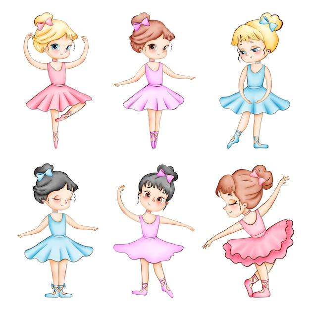 Insieme delle illustrazioni dell'acquerello di piccole ballerine del fumetto sveglio Vettore Premium