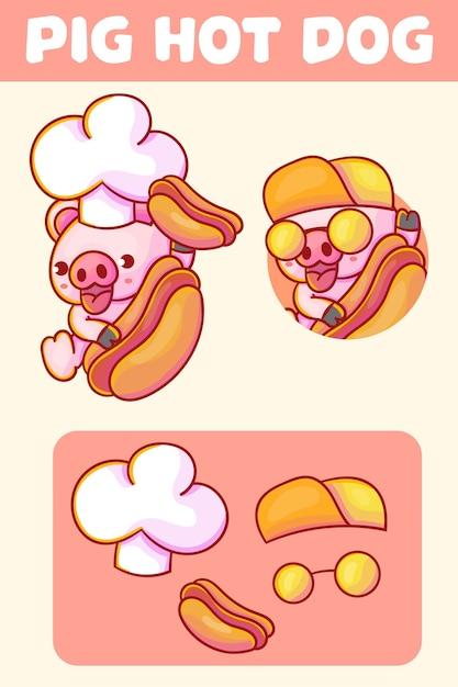 Set di simpatico maiale chef con logo mascotte hot dog con aspetto opzionale. Vettore Premium