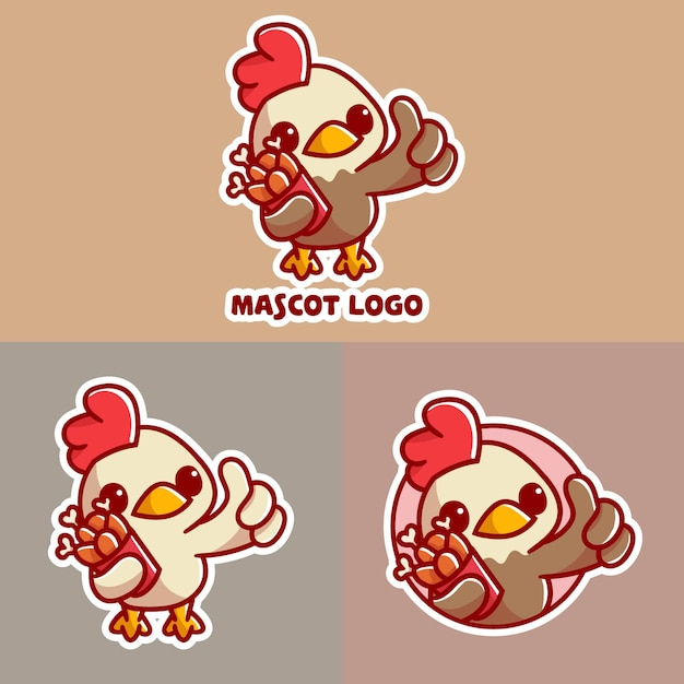 Set di simpatico logo mascotte secchio di pollo con apprearance opzionale. Vettore Premium
