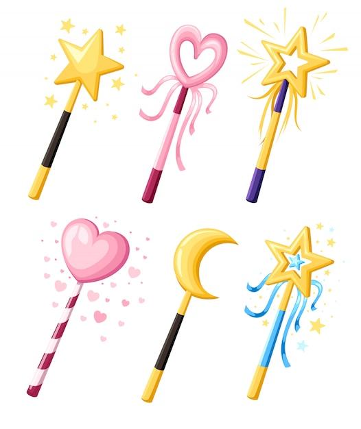 Set di graziose bacchette magiche decorative in varie forme. concetto di potere del fumetto della ragazza magica. illustrazione su sfondo bianco. pagina del sito web e app per dispositivi mobili Vettore Premium