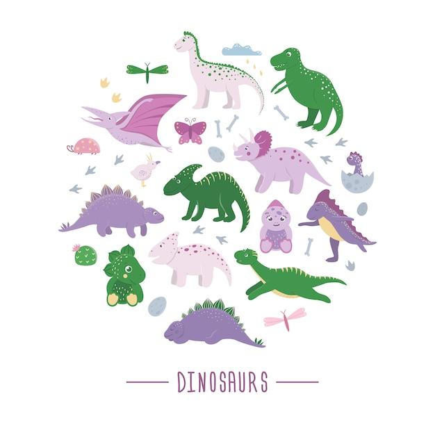 Set di simpatici dinosauri con nuvole, uova, ossa, uccelli per bambini incorniciati in cerchio. concetto di personaggi dei cartoni animati piatto dino. illustrazione di rettili preistorici carino. Vettore Premium