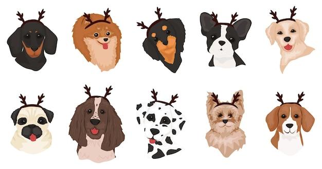 Set di simpatici cani con corna di cervo Vettore Premium
