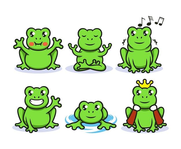 Set di carino rana verde mascotte logo design illustrazione Vettore Premium