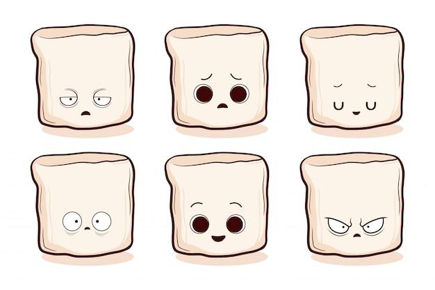 Set di marshmallow carino disegnato a mano Vettore Premium
