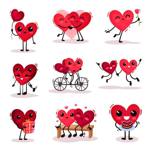 Set di simpatici cuori umanizzati in diverse azioni. coppie innamorate tema di san valentino Vettore Premium