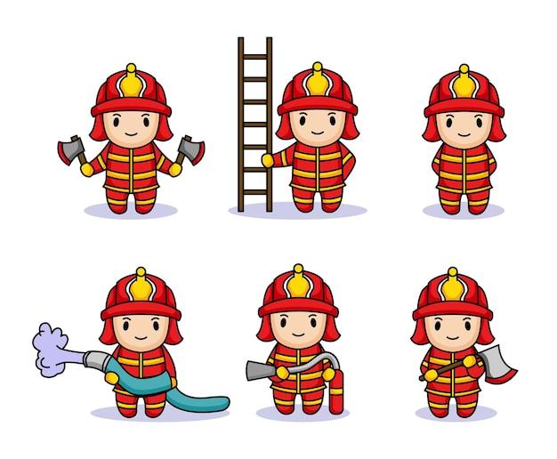 Set di bambini carini con costume da pompiere Vettore Premium