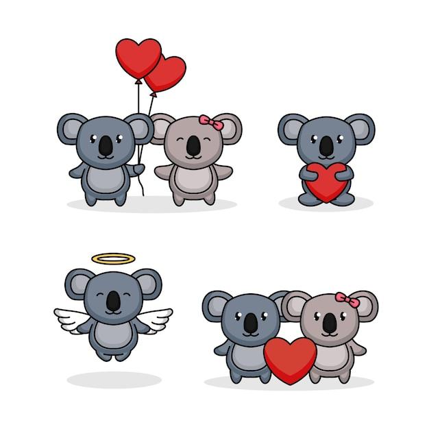 Set di simpatici koala nel giorno di san valentino Vettore Premium