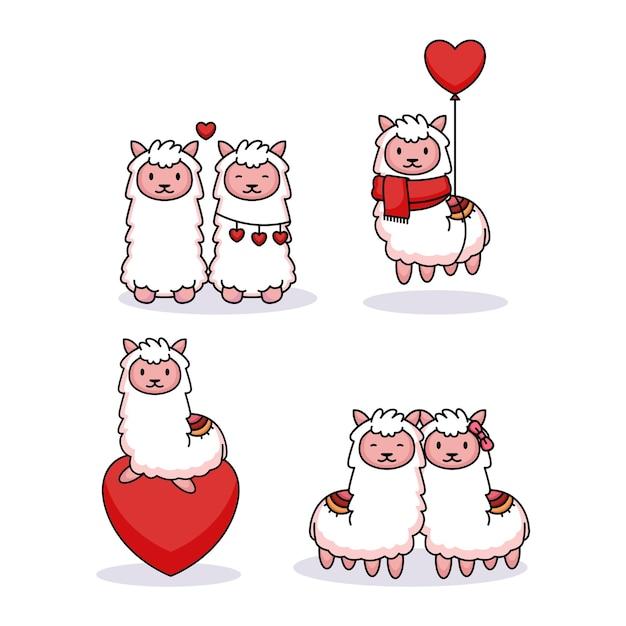 Set di lama carino nel giorno di san valentino Vettore Premium
