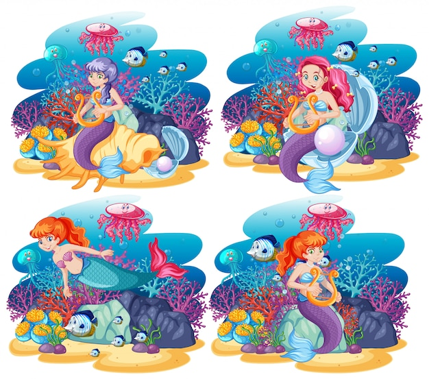 Set di sirena carina con stile cartone animato scena tema mare animale Vettore Premium