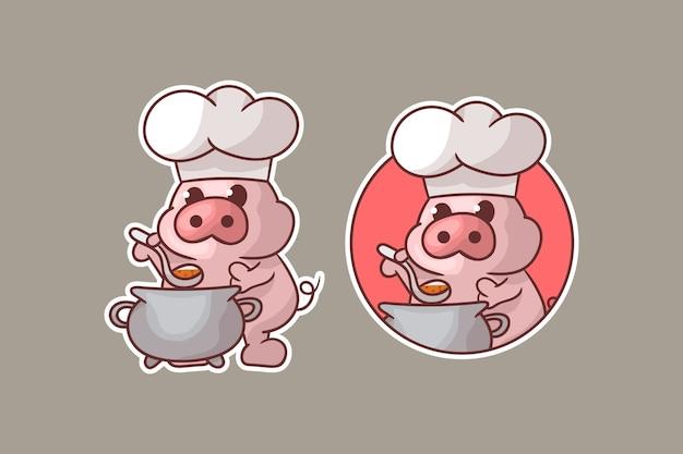 Set di logo mascotte cuoco maiale carino con aspetto opzionale. Vettore Premium
