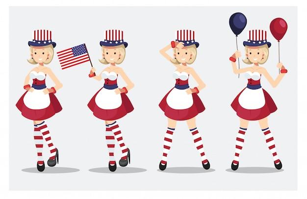 Set di carina bella donna in 4 luglio vestito in costume. Vettore Premium