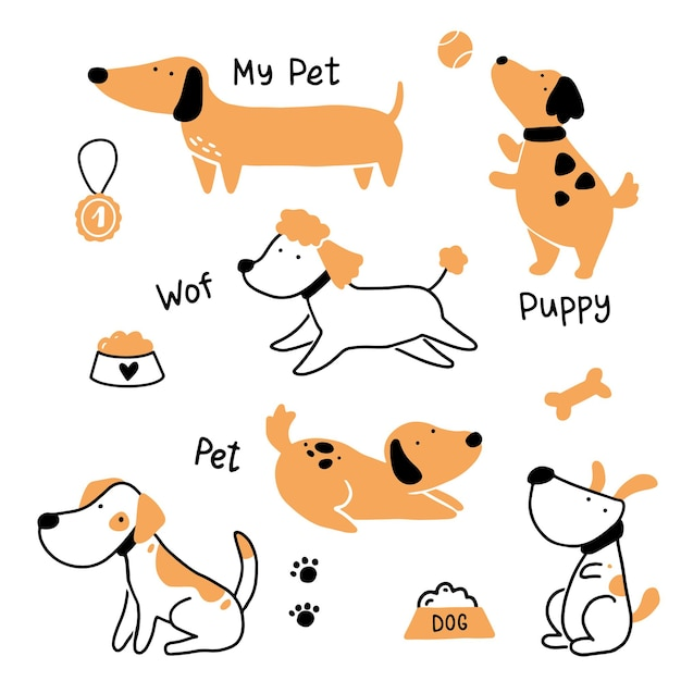 Set di carino cucciolo di cane da compagnia. accumulazione del cane felice e divertente. illustrazione di carattere animale del fumetto. Vettore Premium