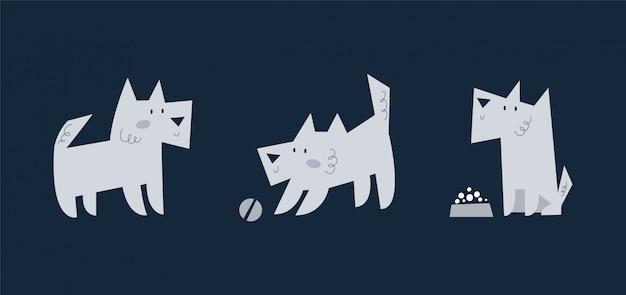 Set di simpatico cucciolo di cane di varie razze giocando, mangiando, camminando. collezione di animali da compagnia divertenti cartoni animati Vettore Premium
