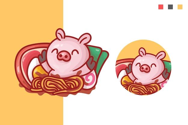 Set di simpatico logo mascotte maiale ramen con aspetto opzionale. Vettore Premium