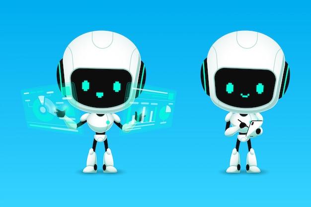 Set di simpatici robot ai personaggi analizza e nota l'azione, Vettore Premium