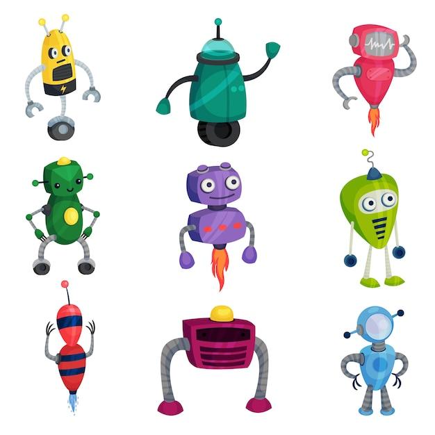 Set di simpatici robot di diversi colori e forme. illustrazione su sfondo bianco. Vettore Premium