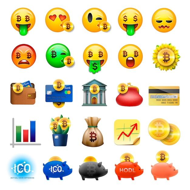 Set di emoticon smiley carino, design emoji, bicoin, affari, icone di valuta crittografica, illustrazione. Vettore Premium